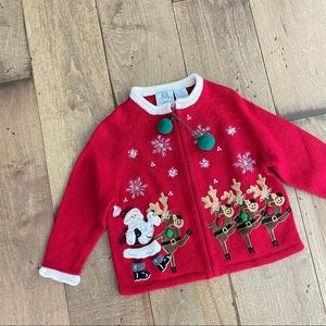 Embroidered Christmas Cardigan Sweater Ugly Tacky